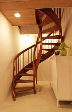 traditional spiral staircase to play loft. all wood.