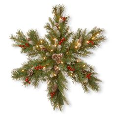 Show how you really feel about Christmas with the National Tree Company 32 in. Frosted Berry Snowflakes with Warm White Battery Operated LEDs and Timer. Outdoor Garland, Pre Lit Garland, Pine Garland, Light Garland, Snowflake Wreath, Snowflake Decorations, Christmas Decorations, Christmas Arrangements, Yard Decorations