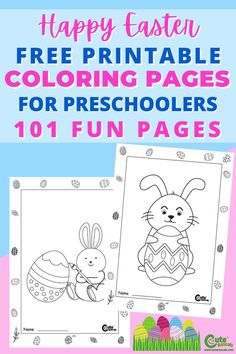 Kids will have lots of fun coloring this set of Easter coloring sheets. Check out this free printable Easter coloring worksheets for kids #Easter #Easterworksheets #kidsworksheets… More
