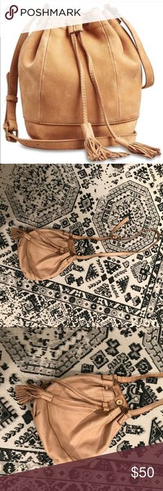 Lucky Brand Soft Tan Harper Tassel Crossbody Super soft leather. Used once for filming a show and now don't really have purpose for it. Nude blush leather color. Super soft + beautiful bucket Tassel bag Lucky Brand Bags Crossbody Bags