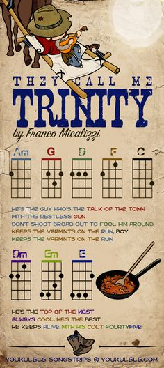 They call me Trinity - Franco Micalizzi - Ukulele Ukulele Tabs, Ukulele Songs, Ukulele Chords, Film Western, Cool Ukulele, Terence Hill, Beautiful Poetry, Kalimba, Sheet Music
