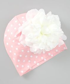 Take a look at this Pink & White Polka Dot Peony Beanie by Jamie Rae Hats on #zulily today!