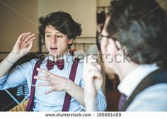 two young hipster stylish elegant men working with notebook and tablet at home  - stock photo BUY IT FROM $1 ON SHUTTERSTOCK