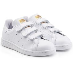Adidas Originals Stan Smith Leather Sneakers ($85) ❤ liked on Polyvore featuring shoes, sneakers, white, adidas originals trainers, perforated leather sneakers, velcro sneakers, white leather shoes and leather trainers