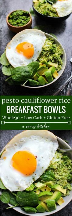 Fresh & Easy Pesto Cauliflower Rice Bowls   Made in 30 minutes or less   Low Carb + Whole30 Compliant + Paleo