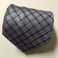 FACCONABLE PLAID STYLE 100% SILK MEN'S NECK TIE HAND MADE IN FRANCE #Facconable #Tie
