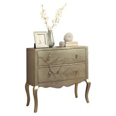 Found it at Wayfair - 2 Drawer Accent Chest in Golden Silver