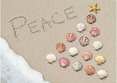 Send your warmest wishes with Brighten the Season holiday greeting cards. Cover design features ''peace'' sand writing