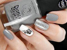 Harmonious Greys ~ base polish Dance Legend Smokey Collection 'Grey Britain' 2 coats over grey Kiko 329, ring finger is Gina Tricot 'White' with a black rose decal (white decal on thumb) and middle finger is Colors By Llarowe 'Man In The Mirror' ~ by Better Nail Day