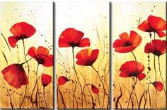 Decorative Flowers Abstract Warm Color Decorative Modern Oil Painting Hand Painted Wall Art Contemporary 3 Piece Ready to Hang Poppy Flower Painting, Poppies Painting, Flower Oil, Triptych Wall Art, Modern Oil Painting, Flower Artwork, Flower Paintings, Oil Paintings, Painting Inspiration