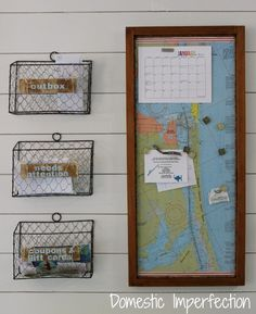Command Center with Magnetic Map - Home Command Centers and Homework Center Ideas on Frugal Coupon Living. Organize your life and home before the Back to School Season.