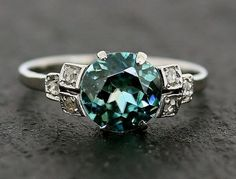 RESERVED FOR KATIE - Art Deco Ring - Blue Zircon & Diamond Antique 18ct White Gold and Platinum Ring