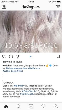 Hair Color formulation Scenarios 986 364 Best Wella Colour formulas Images In 2019 Light Blonde Hair, Cool Blonde, Blonde Color, Ice Blonde, Wella Toner, Hair Toner, Hair Color Formulas, Koleston, Hair Color Techniques