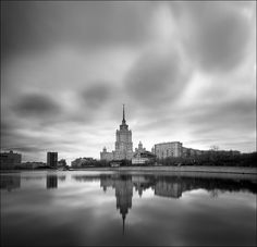 Gloomy Russian skies  | houses, Moscow, sky, river, black and white