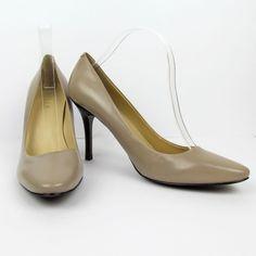 Ralph Lauren High Heel Pumps 10 M Lt Taupe Leather Stacked Heel Classic Shoes  #LaurenRalphLauren #PumpsClassics #WeartoWork