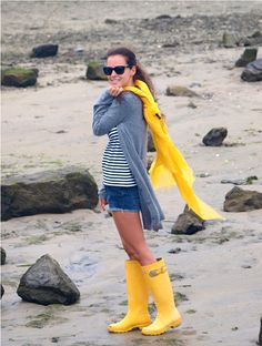 matching rain boots and jacket -- beachy no matter the weather!