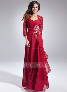 A-Line/Princess Sweetheart Floor-Length Chiffon Mother of the Bride Dress With Beading Sequins Cascading Ruffles (008006157) - JJsHouse