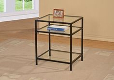 Black Metal Glass Accent Side End Table with Shelf