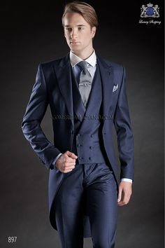 Italian bespoke wedding morning suit, blue fil a fil, style 897 Ottavio Nuccio Gala, 2017 Gentleman collection.