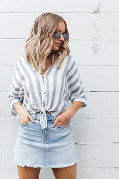 Spring + summer 2018 trend: denim skirts + striped tie front tops #fashion #style #outfits #trendysummeroutfits