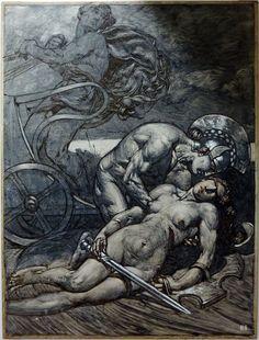Achilles mourns Penthesilea by Alexander Rothaug. Americana Tattoo, Amazonian Warrior, Mythology Books, Illustrator, Renaissance Kunst, Greek And Roman Mythology, Greek Art, Classical Art, Gravure
