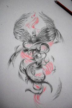 phoenix draw, tattoo design