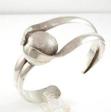 Vintage Taxco Sterling Silver Brushed Ball Modernist Cuff Bracelet