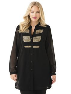 Ulla Popken Plus Size Gleam of Gold Pleated Tunic - Black/Gold, 24/26 Ulla Popken,PLUS SIZE FASHION INSPIRATION to buy just click on amazon here http://www.amazon.com/dp/B00EF5VZ8W/ref=cm_sw_r_pi_dp_cp0xsb1T4DKAR32G