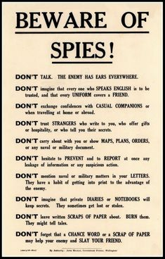 Art Print Beware of Spies Government Security Notice WWI – Print 8 x 10 – Politics Survival Tips, Survival Skills, Urban Survival, Writing Tips, Writing Prompts, Journal Prompts, Art Journals, Vapo Rub Uses, Wisdom Quotes
