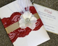 VINTAGE GLAMOUR: Lace Wedding Invitation Plum by peachykeenevents