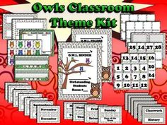 "Owls Classroom Theme Kit - ""Owl""-standing Students - King Virtue  Dazzle your ""owl""-standing students with this owl-inspired classroom theme kit. Designed to help make your classroom look ""owl""-mazing, this classroom theme set includes the following: Student Folder Cover Page Student Binder Cover Page Months of the Year Labels Days of the Week Labels Various Subject Labels (Reading, Math, Science, etc.) Calendar Numbers (31 plus several blank ones) Student Name Label (includes number line…"