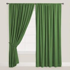 One of my favorite discoveries at WorldMarket.com: Dark Green Velvet Dual Tab Top Curtain