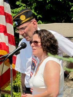 Councilwoman Abby Katz addresses the crowd at the Memorial Day Service