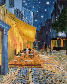 Van Gogh reproduction - cafe terrace at night #art #oilpainting #vangogh #reproduction