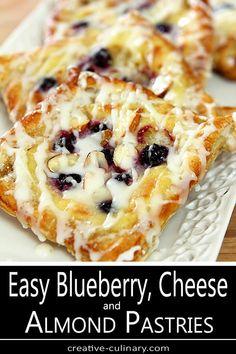 Cream Cheese Puff Pastry, Cream Cheese Danish, Puff Pastry Dough, Frozen Puff Pastry, Breakfast Cheese Danish, Breakfast Pastries, Breakfast Dishes, Breakfast Recipes, Breakfast Items