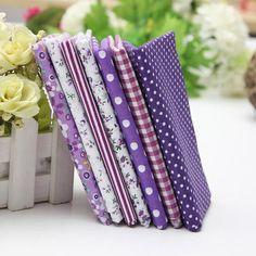 1 Set Purple 7 Assorted Striped Fabrics Charm Cotton Quilt