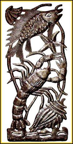 Metal Wall Hanging Fish & Lobster - Haitian Recycled Steel Drum Art…