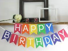 Banner de feliz cumpleaños arco irisBandera por RMCreativeDesigns