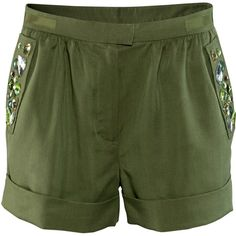H&M Shorts (£15) ❤ liked on Polyvore featuring shorts, h&m, bottoms, khaki green, short khaki shorts, mini shorts, faux-leather shorts, green shorts and ruched shorts