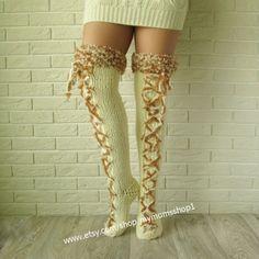 Cream Knee docks with interlacing. Thigh high от mymomsshop1