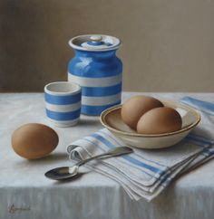 "Cornishware with Eggs  10""x10""      Sold   Anne Songhurst"