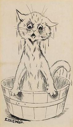 Louis Wain, Wet cat in a tub