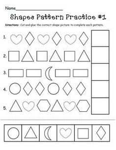 Preschool pattern worksheets are great for practicing pattern recognition. Help your child recognize and create patterns with our preschool pattern printables. Pattern Worksheets For Kindergarten, Patterning Kindergarten, Kindergarten Worksheets, Teaching Shapes, Teaching Math, Learning Activities, Maths, Teaching Resources, Preschool Curriculum