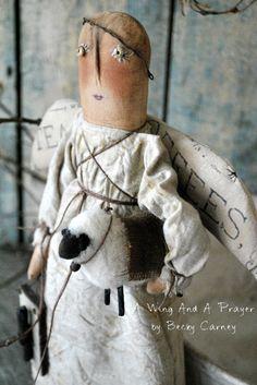 Primitive Folk Art Farmhouse Style Angel Doll by AWINGANDAPRAYER