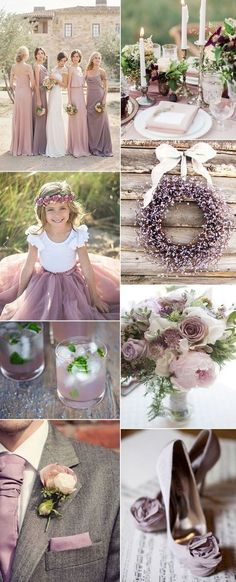 popular rustic shade of purple mauve wedding color ideas for spring and summer