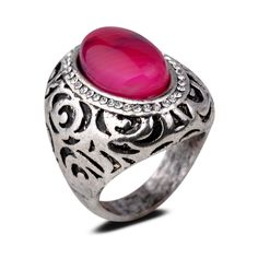 Yazilind Vintage Antique Oval Cut Red Jade Retro Silver Plated 6.5 Ring Women: Jewelry