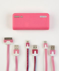 Love this Pink Universal Power Bank Set on #zulily! #zulilyfinds