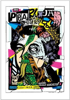 Pearl Jam concert poster for Manchester show, night 1.