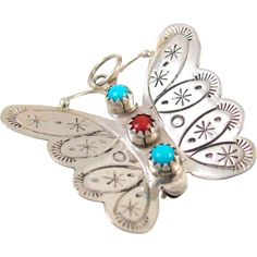 #VintageBeginsHere at www.rubylane.com @rubylanecom -- Navajo JOHNNY JOHNSON Sterling Silver Turquoise Coral Butterfly Pin Pendant