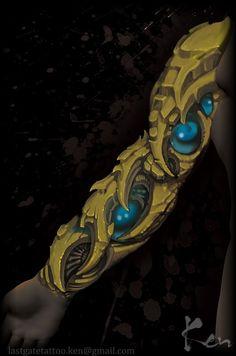 フラッシュアート,バイオメカ,バイオ,カラー,バイオタトゥー,トライバル,デザイン画,腕,十分袖のタトゥーデザイン|タトゥーナビ